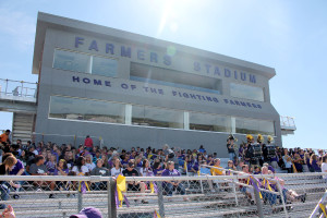Crowds congregate at the newly renovated Fightin' Farmers Stadium for the Homecoming pep rally Sept. 18. The stadium was used for the first time after renovations for Homecoming festivities.