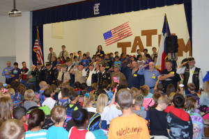 Students at Tatum Elementary School honored local veterans for Veterans Day Nov. 11 with a flag raising ceremony and musical selections.