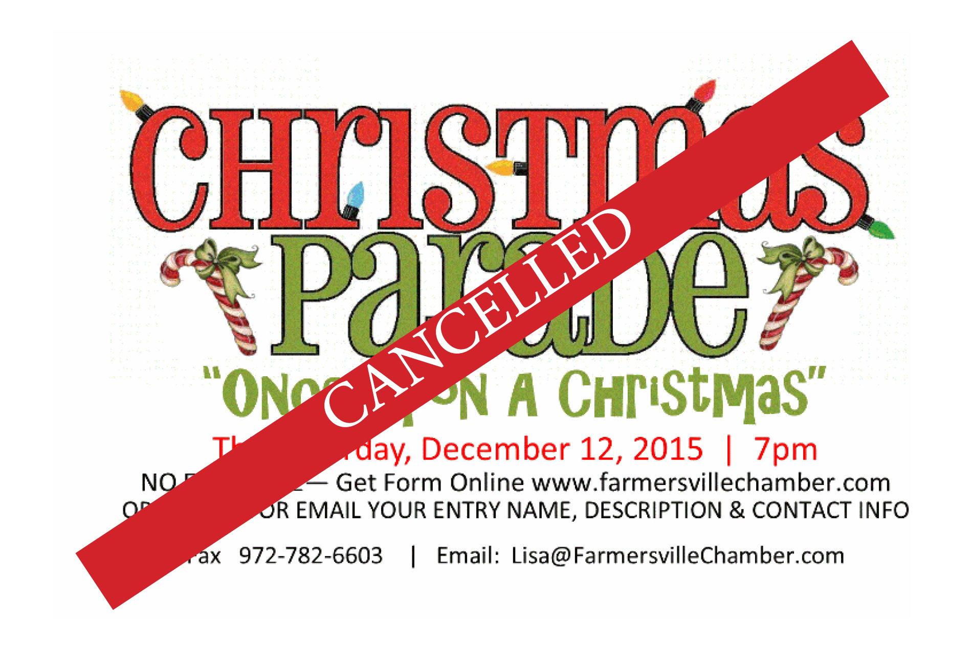 Christmas parade cancelled for this Saturday