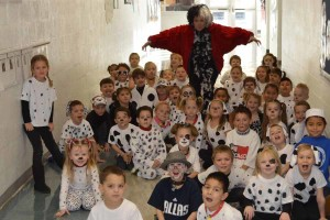 A bunch of unruly dalmatians took over Tatum Elementary School along with Cruella De Vil for the 101st day of school.