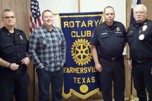 First responders were presented their annual awards at the Jan. 26 Farmersville Rotary Club meeting. From left is Police Chief Mike Sullivan, Police Officer of the Year Korey Redding, Firefighter of the Year Jeff Erickson and Fire Chief Kim Morris.