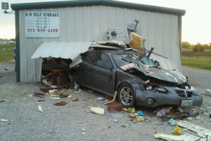 B&D Self Storage on Hwy. 78 suffered damage after a vehicle drove through it Saturday, April 9.