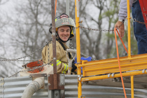 Nevada Volunteer Fire Captain Peter Hacking participates in a grain silo entrapment training exercise in 2014. Captain Hacking was killed in a head-on collision March 31 along with his two children, Ellie and Grayson.