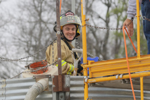 Nevada Volunteer Fire Captain Peter Hacking participates in a grain silo entrapment training exercise in 2014. Captain Hacking was killed in a head-on collision March 31.
