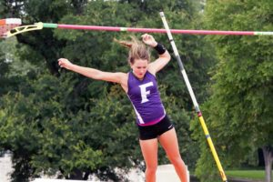 Farmersville's Chloe Wall clears the bar during the pole vault event during the Class 3A state meet at Austin.