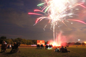 Plumes of color explode overhead in the night sky amid crowds at the annual Fireworks in the Park event.