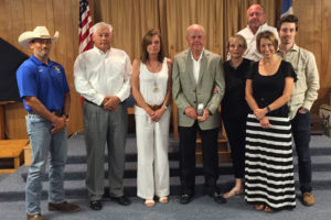 The Farmersville Masonic Lodge recently presented Councilmember Mike Hurst with a community builder award. From left is Masonic Lodge member Dustin Bridges, Blake Mounger, Becky Mounger, Mike Hurst, Lela Hurst, Stephanie Hurst, Jake Hurst and Jeff Hurst.