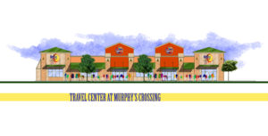 An illustration of the new travel center located on Hwy. 380.