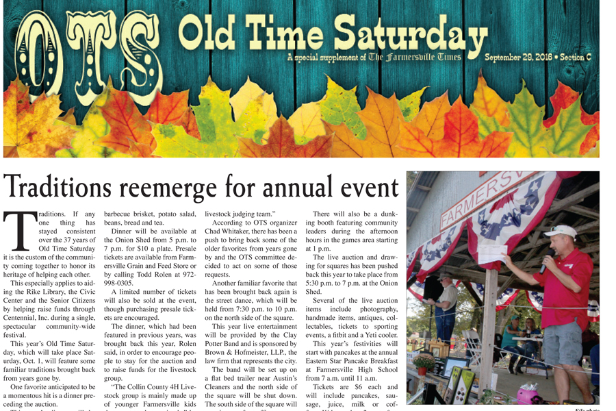 Don't miss the Old Time Saturday section inside this week's edition!