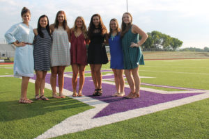 Homecoming court members are from left Junior Class Princess Katy Ravsten, Senior Queen nominees Anna Nibbelin, Kailynn Virag, Chloe Wall and Mackensie Monk, Sophomore Class Princess Kira Dela Fuente and Freshman Class Princess Madison Bowman.