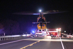 A PHI air medical helicopter lands on Hwy. 78 Oct. 18 after a fatality accident involving a motorcycle rider occurred. The driver was airlifted due to critical injuries.