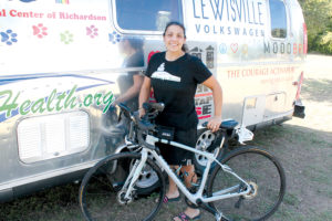 Endurance cyclist Danielle Girdano set a new record of 23 days for a ride from Chicago, Ill., to Santa Monica, Calif., roughly following old Route 66. The old record was 44 days.