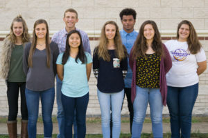 September Students of the Month for Farmersville High School are from left, Makenna Elliott (9th), Kylee Davis (11th), Kelcey Kasper (12th), Donna Smith (11th), Emily Odle (10th), Caleb Twyford (12th), Mary Hibbitts (9th), and Megan Ravsten (10th).