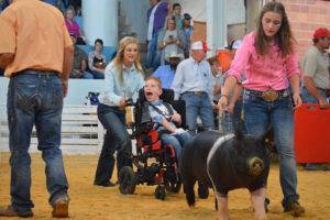 Family friend Jaci Horton and his sister, Jenson McTee, help Jarren McTee exhibit Toca his hog at the State Fair.