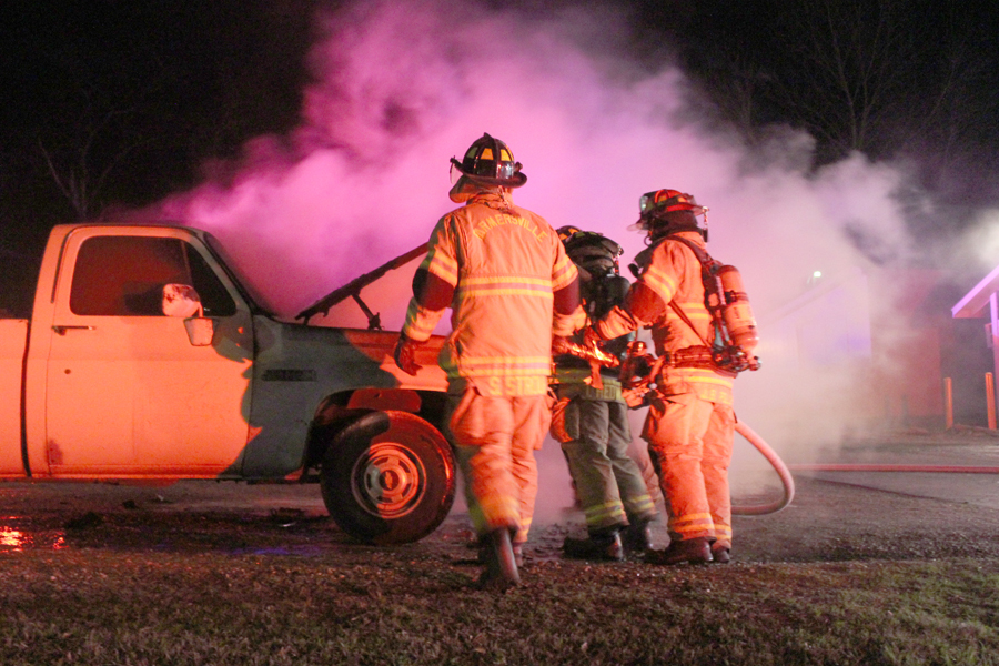 Vehicle catches fire on Main