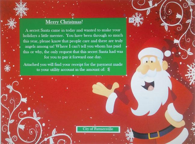Secret Santa has a message for citizens